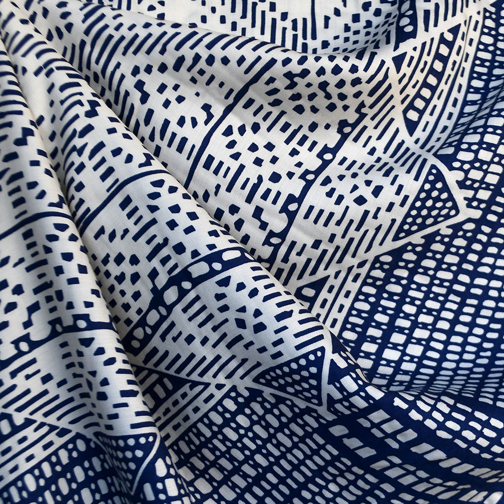Mosaic Double Border Rayon Sateen Shirting Navy SY - Sold Out - Style Maker Fabrics