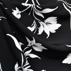 Elegant Brushstroke Floral Rayon Crepe Black SY - Sold Out - Style Maker Fabrics