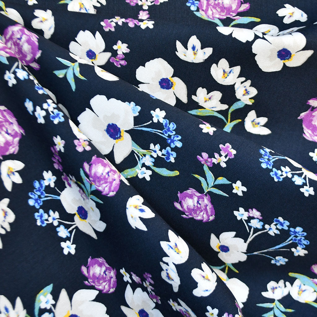 Spring Floral Rayon Twill Shirting Navy SY - Sold Out - Style Maker Fabrics