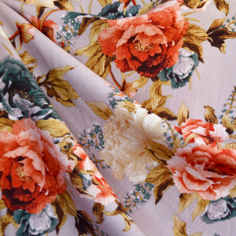 Rococo Inspired Floral Rayon Crepe Lavender/Coral