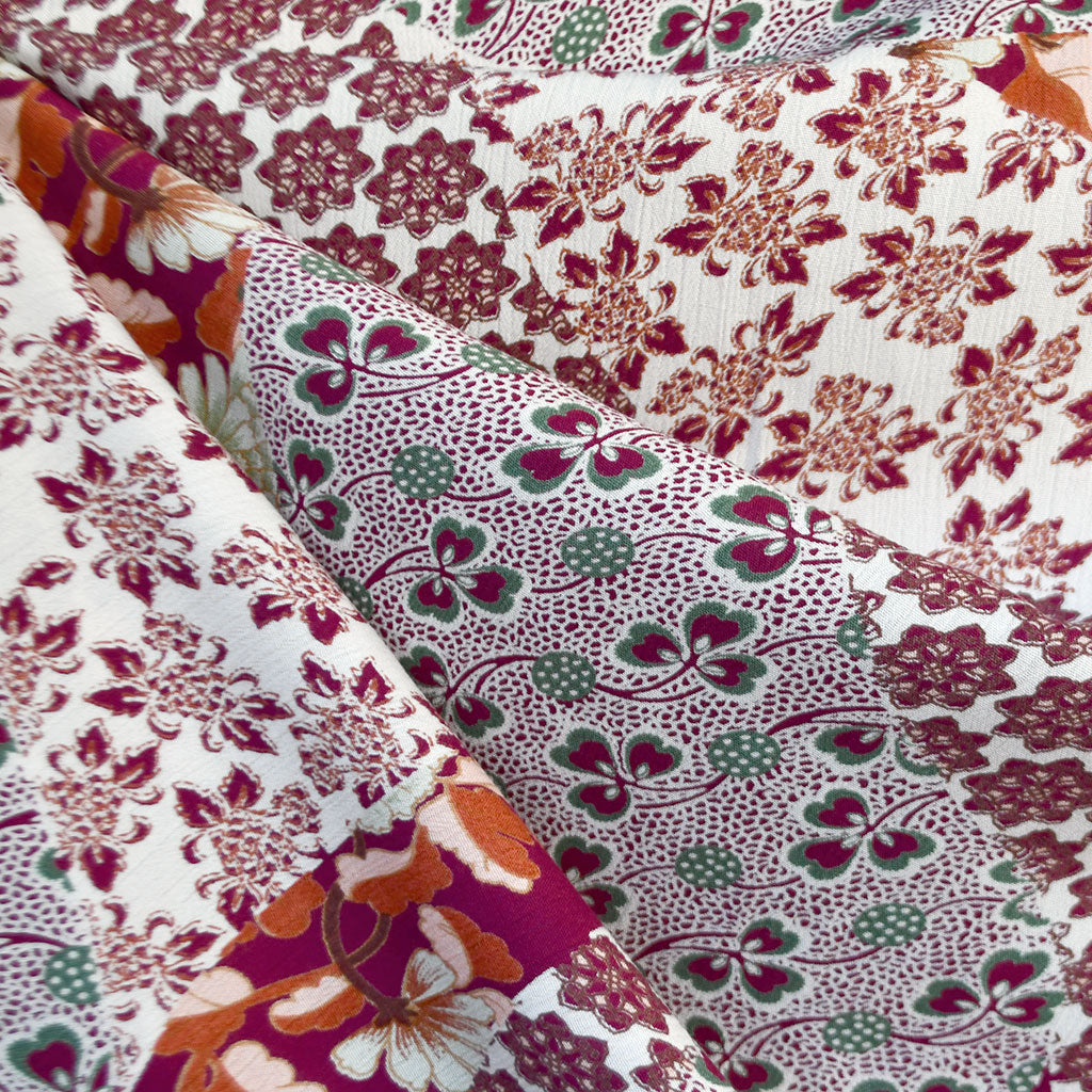 Patchwork Print Mix Rayon Crepe Burgundy/Coral - Fabric - Style Maker Fabrics