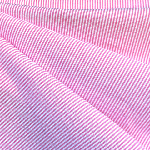 Mini Seersucker Stripe Cotton Shirting Pink/White