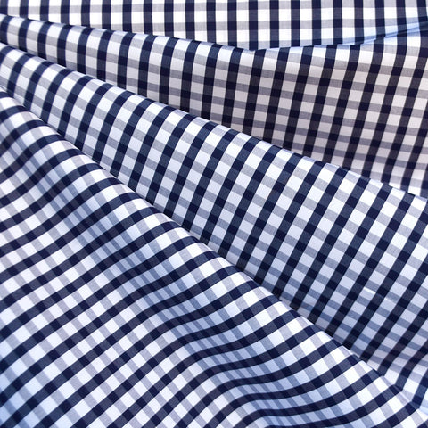 Italian Check Plaid Cotton Shirting Navy/White