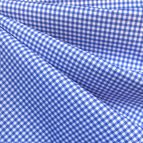 Italian Mini Check Plaid Cotton Shirting Blue/White