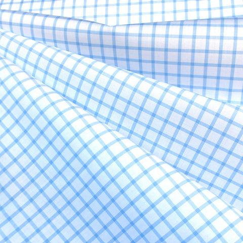 Italian Windowpane Plaid Cotton Shirting Blue/White