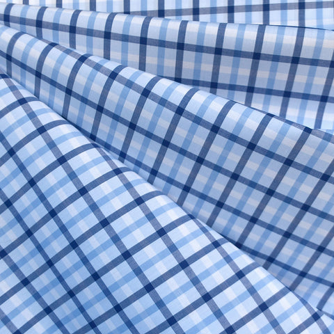 Italian Multi Check Plaid Cotton Shirting Blue/White