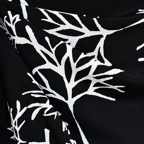 Branching Coral Rayon Crepe Black/White
