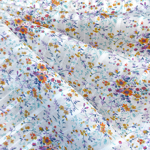 Ditsy Floral Textured Cotton Voile White/Multi