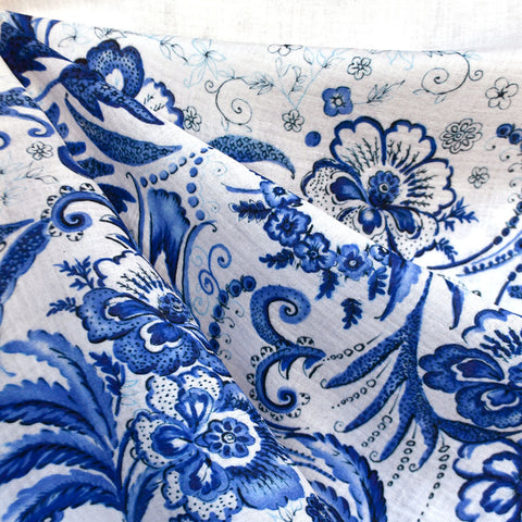 Designer Brushstroke Floral Double Gauze Panel White/Blue