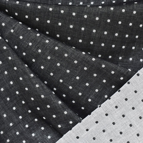 Reversible Dot Cotton Double Cloth Black/Vanilla