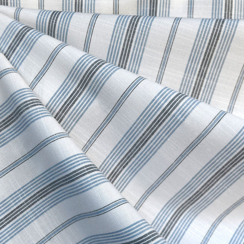 Variegated Stripe Rayon Blend Shirting Vanilla/Blue