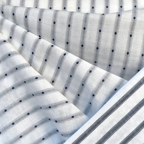 Reversible Dot Stripe Cotton Double Cloth White/Navy