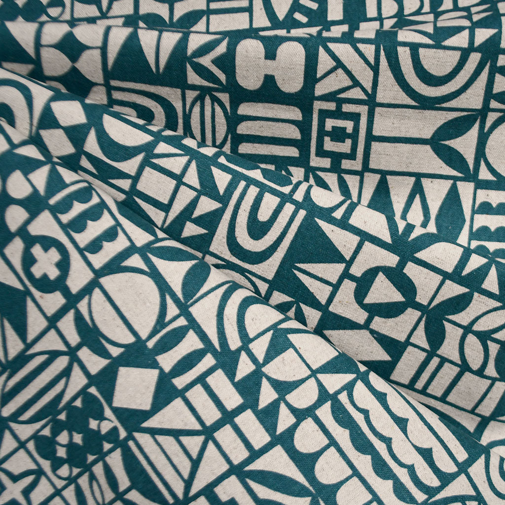 Japanese Papercut Geometric Canvas Teal - Fabric - Style Maker Fabrics