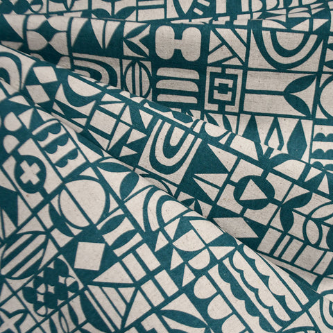 Japanese Papercut Geometric Canvas Teal