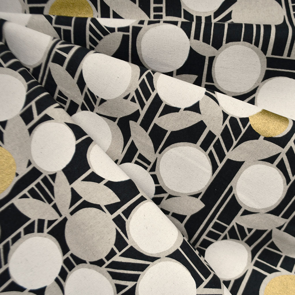 Japanese Paper Flower Geometric Canvas Black/Gold - Fabric - Style Maker Fabrics