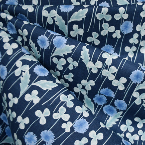 Japanese Clover Floral Cotton Voile Navy