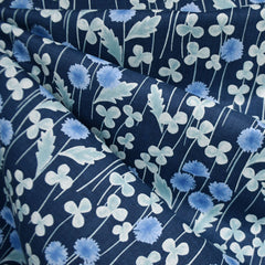 Japanese Clover Floral Cotton Voile Navy - Fabric - Style Maker Fabrics