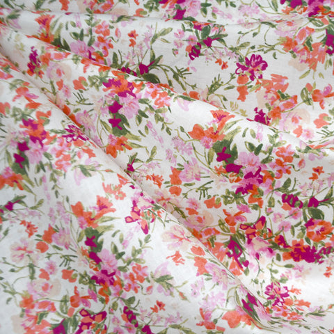 Japanese Brushstroke Floral Cotton Lawn Coral
