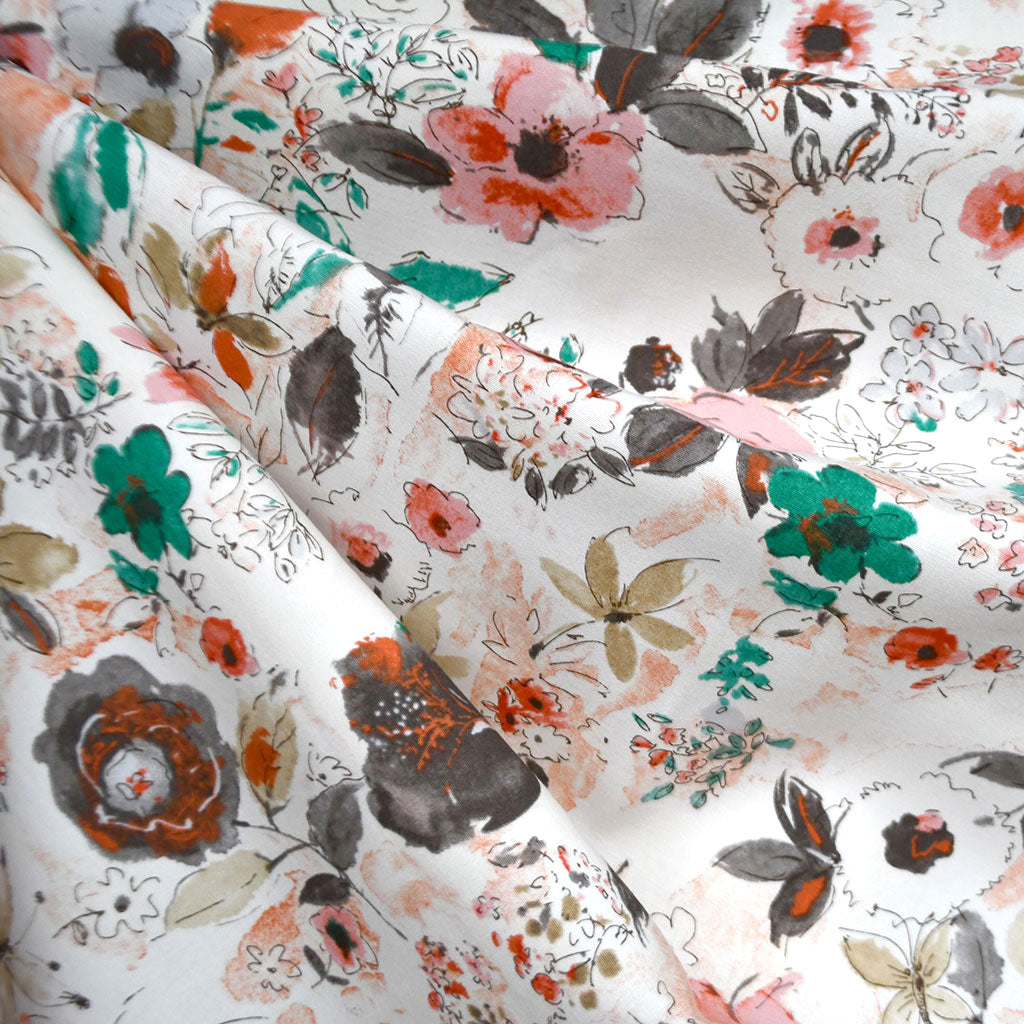 Japanese Watercolor Floral Rayon Blend Shirting Coral/Emerald - Fabric - Style Maker Fabrics