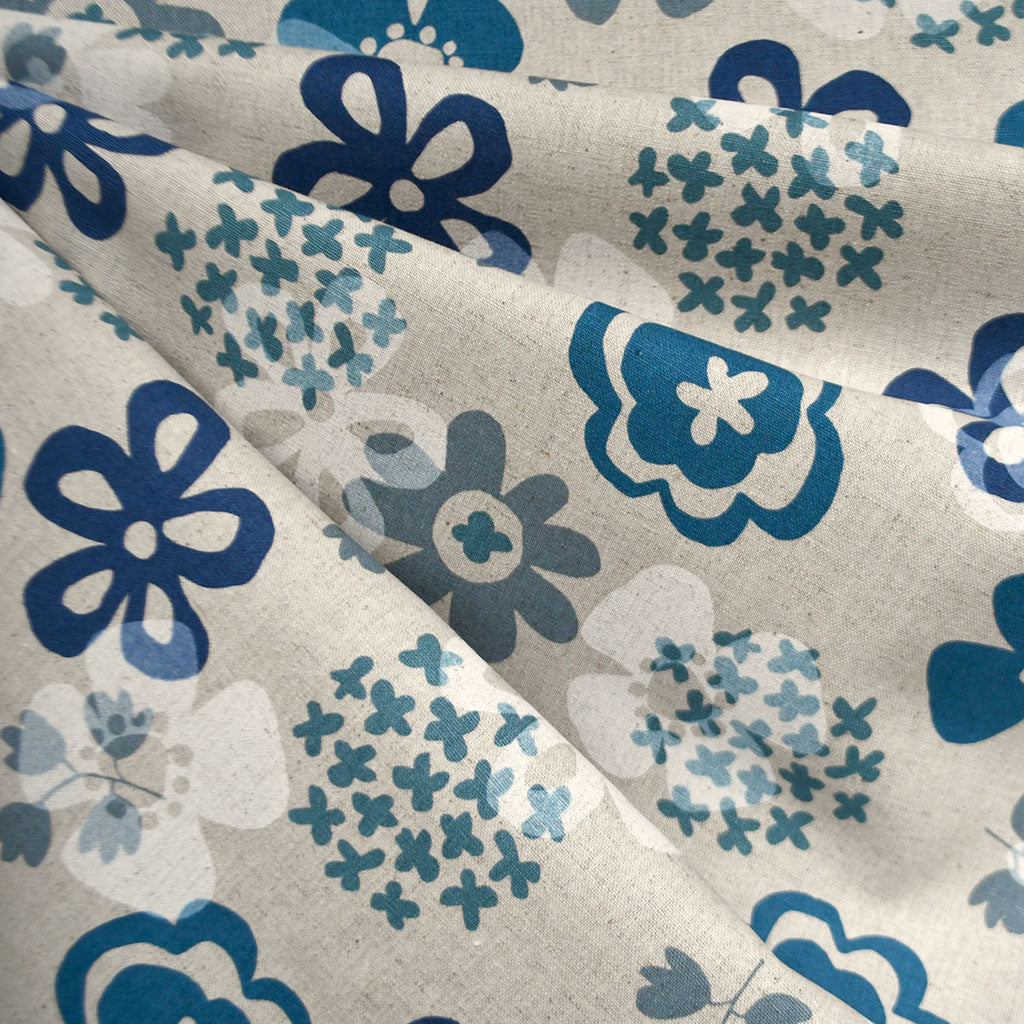 Japanese Layered Sketch Floral Canvas Blues - Sold Out - Style Maker Fabrics