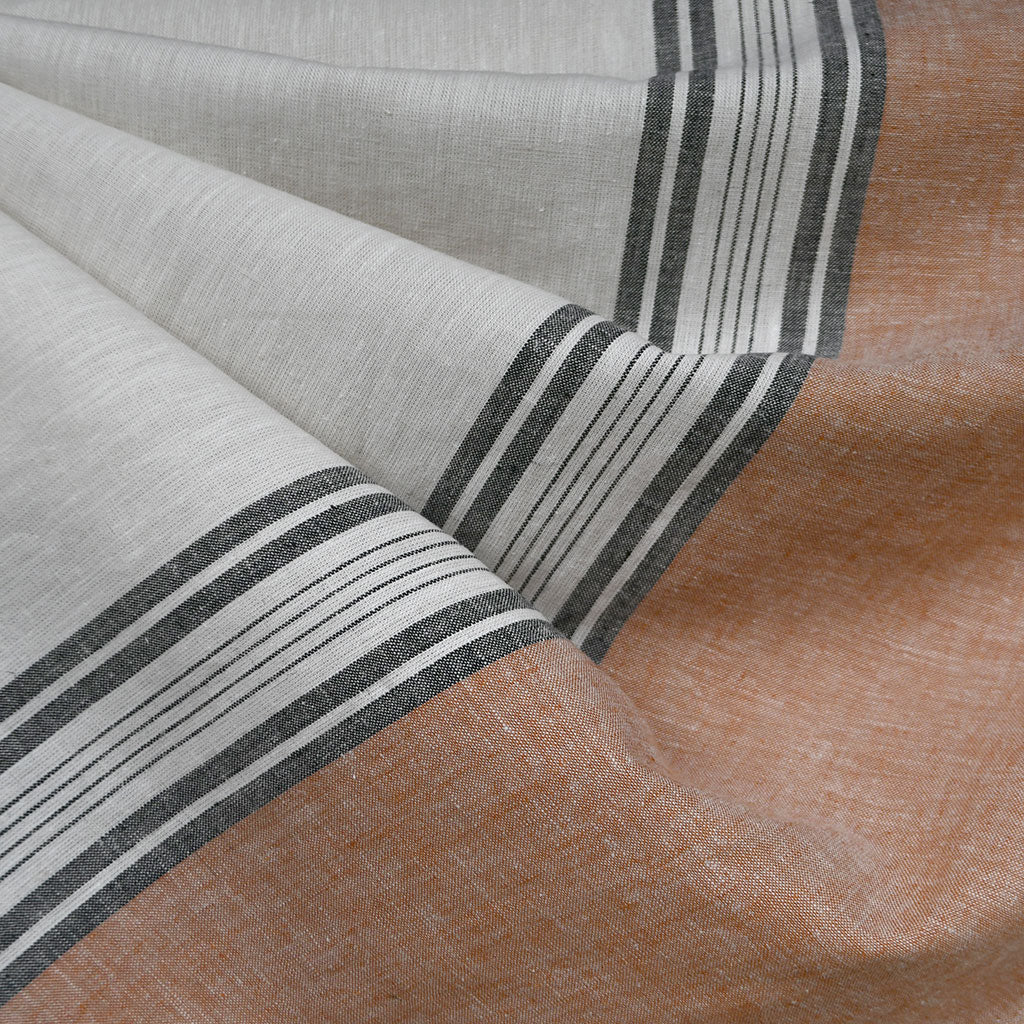 Wide Single Border Stripe Linen Blend Shirting Natural - Fabric - Style Maker Fabrics