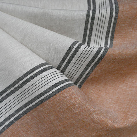 Wide Single Border Stripe Linen Blend Shirting Natural