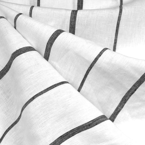 Super Wide Stripe Linen Shirting White/Black
