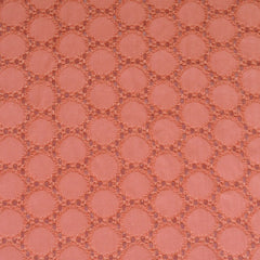 Circle Dot Embroidered Cotton Eyelet Coral - Fabric - Style Maker Fabrics