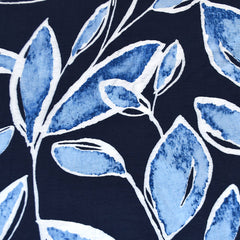 Watercolor Leaves Textured Rayon Blend Shirting Blue - Fabric - Style Maker Fabrics