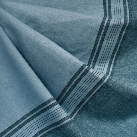 Wide Single Border Stripe Linen Blend Shirting Ocean