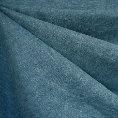 Soft Washed Linen Blend Shirting Ocean