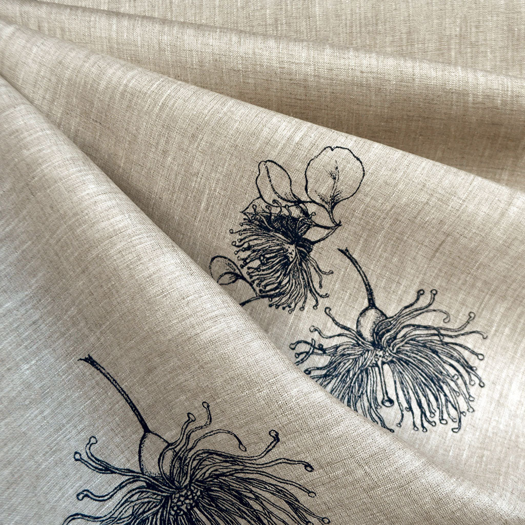 Botanical Floral Outline Linen Shirting Flax/Navy - Fabric - Style Maker Fabrics