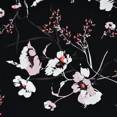 Mod Floral Rayon Poplin Black/Blush SY - Sold Out - Style Maker Fabrics