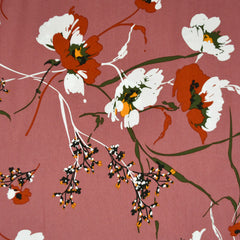Mod Floral Rayon Poplin Rose/Rust SY - Sold Out - Style Maker Fabrics
