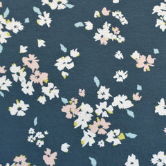 Chelsea Floral Jersey Knit Denim/Blush SY - Sold Out - Style Maker Fabrics