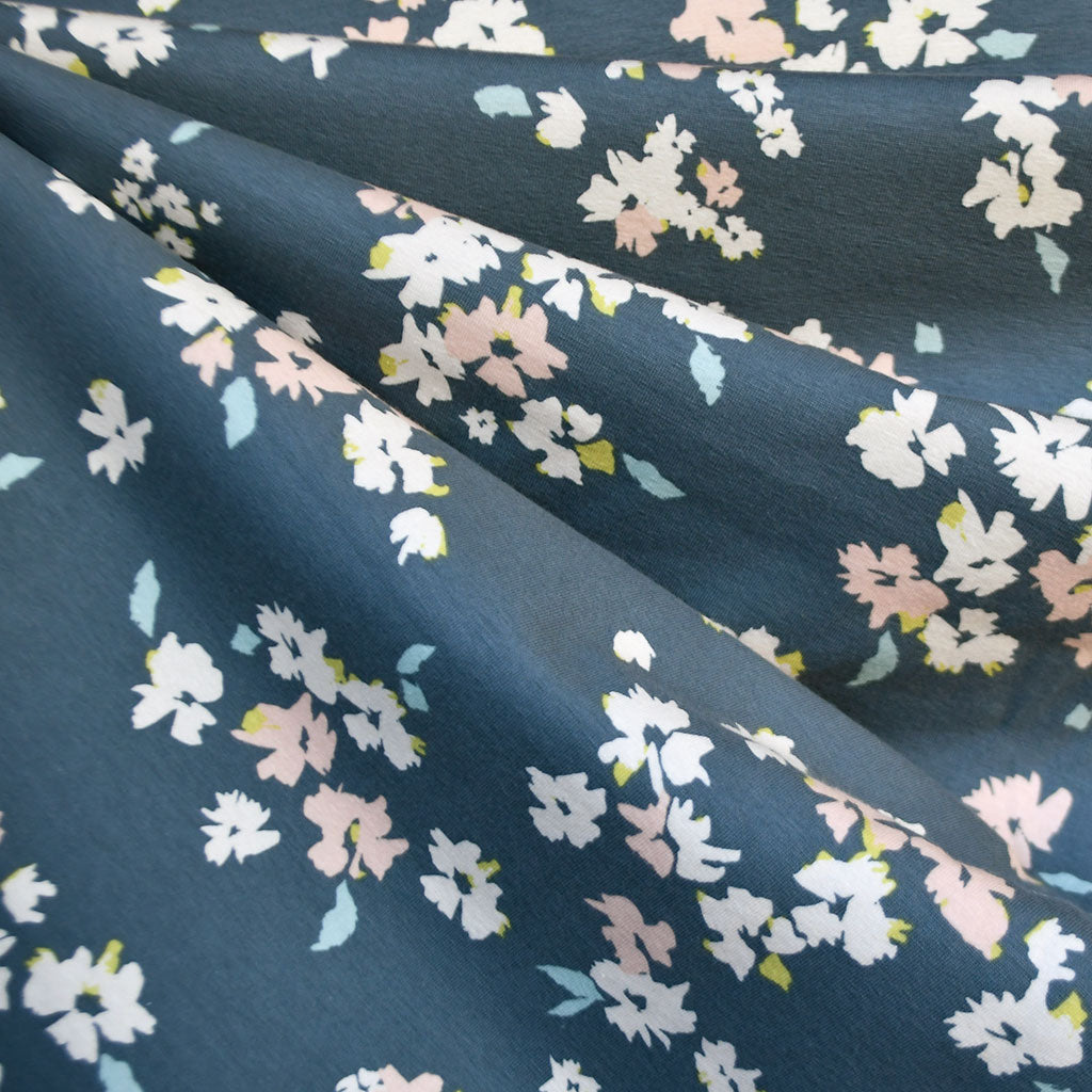 Chelsea Floral Jersey Knit Denim/Blush - Fabric - Style Maker Fabrics