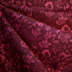 Foresta Flora and Fauna Premium Cotton Burgundy - Fabric - Style Maker Fabrics