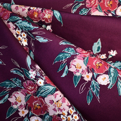 Foresta Extempore Floral Premium Cotton Plum