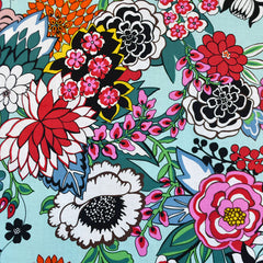 Tattoo Flower Garden Print Cotton Aqua - Fabric - Style Maker Fabrics