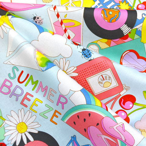 Summer Breeze Collage Print Cotton Aqua