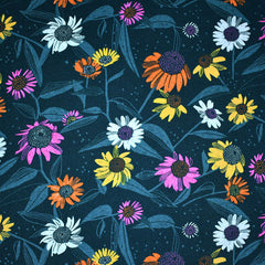 Flora Summer Daisies Rayon Teal SY - Sold Out - Style Maker Fabrics