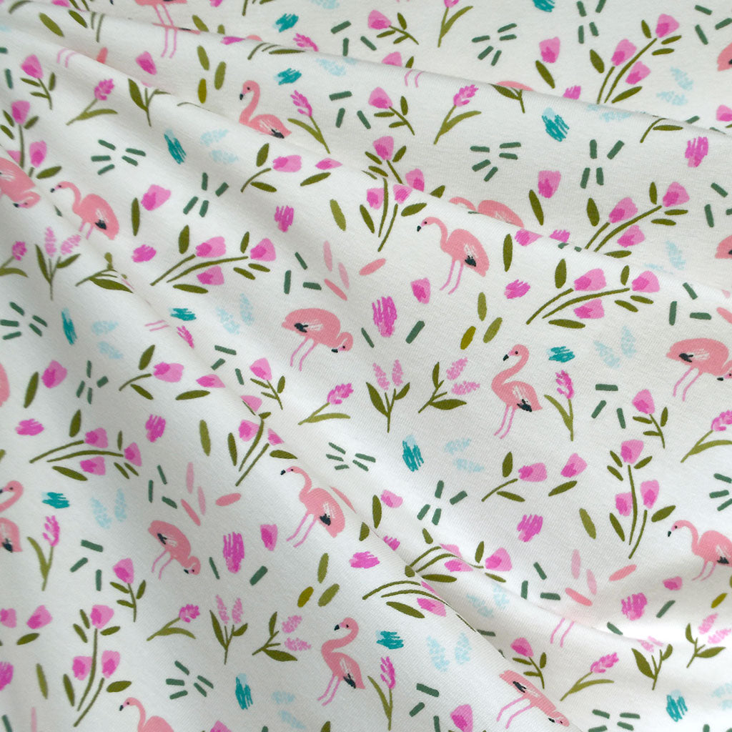 Brushstroke Flamingo Jersey Knit Vanilla/Pink SY - Sold Out - Style Maker Fabrics