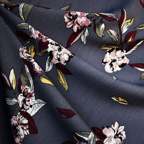 Artistic Sketch Floral Rayon Crepe Slate