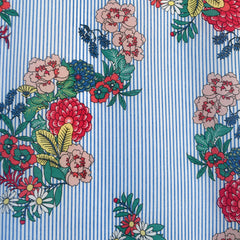 Floral Stripe Print Mix Cotton Lawn Blue/Multi SY - Sold Out - Style Maker Fabrics