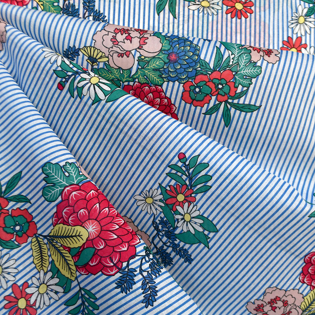 Floral Stripe Print Mix Cotton Lawn Blue/Multi - Fabric - Style Maker Fabrics