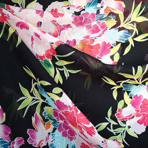Designer Asian Floral Poly Sheer Black/Multi