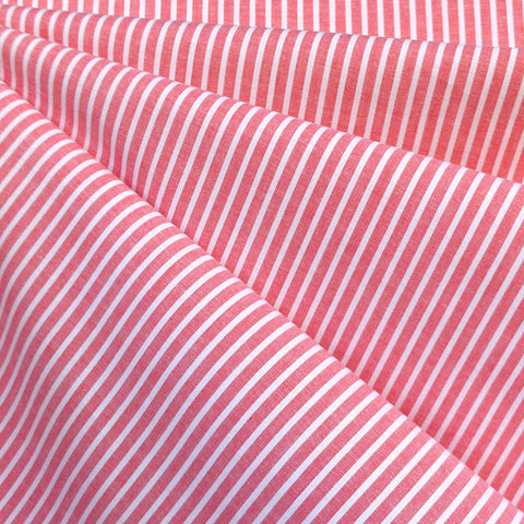 Chambray Stripe Cotton Shirting Red/White