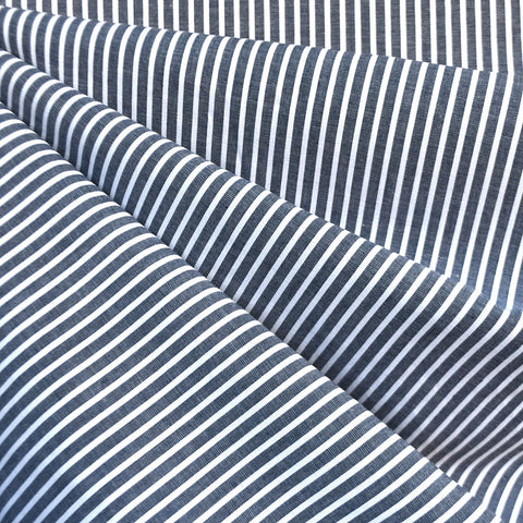 Chambray Stripe Cotton Shirting Navy/White