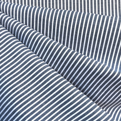 Chambray Stripe Cotton Shirting Navy/White SY - Sold Out - Style Maker Fabrics