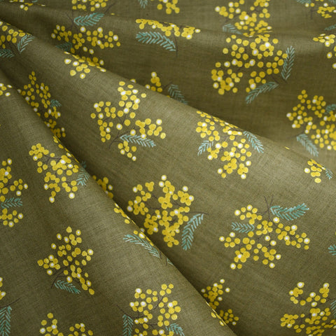 Japanese Spring Floral Cotton Voile Olive